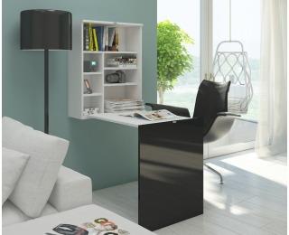 Rozkladací písací stolík s regálom Hide - biela / čierny lesk