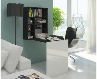 Rozkladací písací stolík s regálom Hide - čierna / biely lesk
