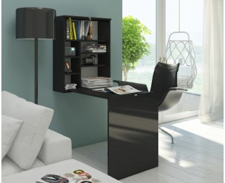 Rozkladací písací stolík s regálom Hide - čierna / čierny lesk