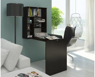 Rozkladací písací stolík s regálom Hide - wenge