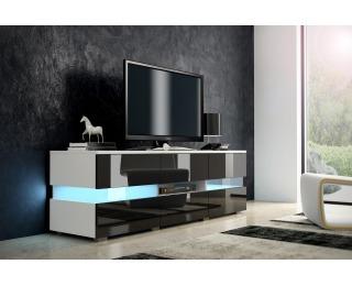 TV stolík Inter - biela / čierny lesk