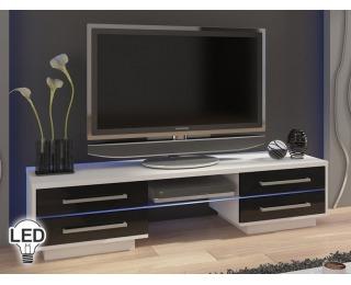 TV stolík Laguna - biela / čierny vysoký lesk