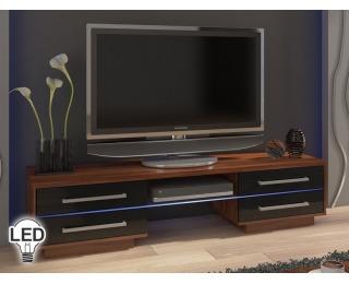 TV stolík Laguna - slivka / čierny vysoký lesk