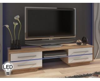 TV stolík Laguna - sonoma svetlá / biely vysoký lesk
