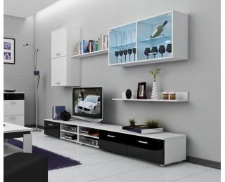 Obývacia stena Magic - biely mat / čierny vysoký lesk