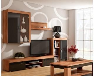 Obývacia stena Mamba - slivka / čierny lesk