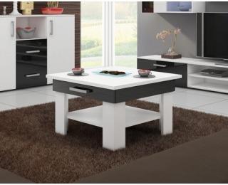 Konferenčný stolík Omega - biely mat / čierny vysoký lesk