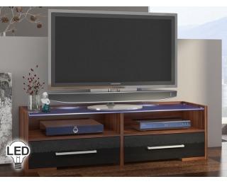 TV stolík Semprio - slivka / čierny vysoký lesk