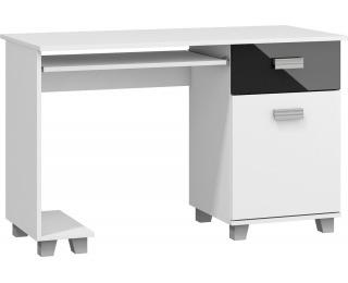 PC stolík Solo - biely mat / čierny lesk