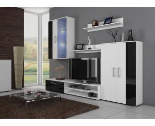 Obývacia stena Stella - biely mat / čierny vysoký lesk