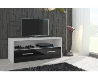 TV stolík Tirana - biela / čierny vysoký lesk