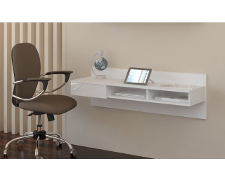 PC stolík na stenu Uno - biela / biely lesk