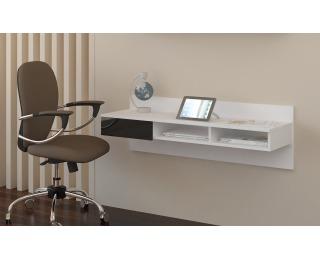 PC stolík na stenu Uno - biela / čierny lesk