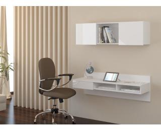 PC stolík na stenu s policou Uno - biela / biely lesk