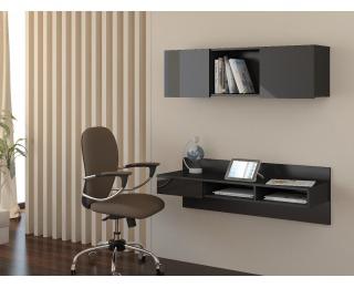 PC stolík na stenu s policou Uno - čierna / čierny lesk