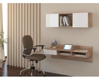 PC stolík na stenu s policou Uno - sonoma svetlá / biely lesk