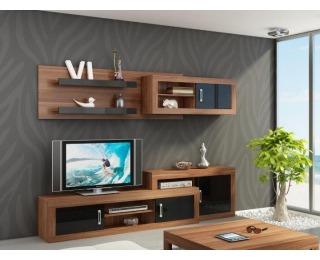 Obývacia stena Verin - slivka / čierny vysoký lesk