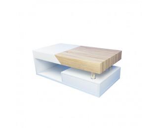 Konferenčný stolík s úložným priestorom Melida - biely lesk / dub sonoma