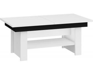 Rozkladací konferenčný stolík Mexico - biela / čierny lesk