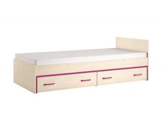 Jednolôžková posteľ s úložným priestorom Bonti 15 90 - jaseň eko / cyklaménová