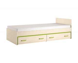 Jednolôžková posteľ s úložným priestorom Bonti 15 90 - jaseň eko / limetková