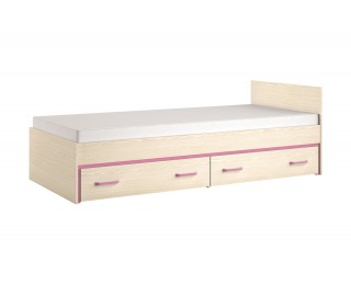 Jednolôžková posteľ s úložným priestorom Bonti 15 90 - jaseň eko / ružová