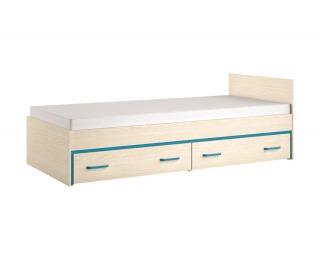 Jednolôžková posteľ s úložným priestorom Bonti 15 90 - jaseň eko / tyrkysová