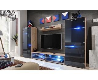 Obývacia stena s osvetlením Modern - dub san remo / grafit