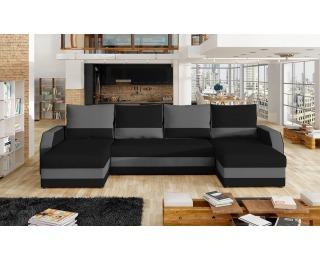 Rohová sedačka U s rozkladom a úložným priestorom Murino L/P - čierna / sivá