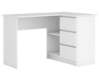 Rohový PC stolík Afors - biela