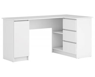 Rohový PC stolík Alsen - biela