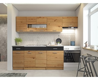 Kuchyňa Ariette 240 - dub artisan / čierny lesk