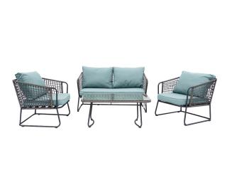Záhradný nábytok z umelého ratanu Bello - hnedosivá / zelená