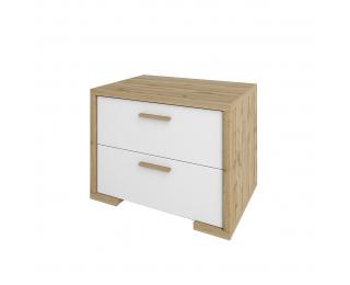 Nočný stolík Finni BC - dub wotan / biela