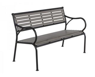 Záhradná lavička Gaya - čierna / sivá