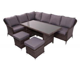 Záhradný nábytok z umelého ratanu Grandissimo - tmavosivá / sivá