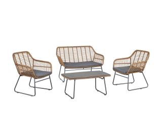 Záhradný nábytok z umelého ratanu Livorno - sivá / béžová