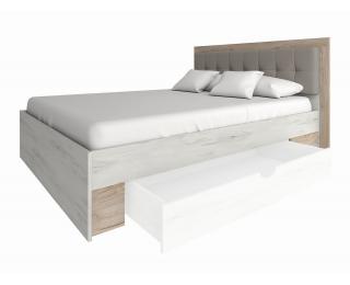 Manželská posteľ s roštom Malbo 160 - sivý dub craft / biely dub craft