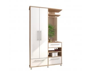 Predsieň s vešiakovým panelom a zrkadlom Naven WSM - dub sonoma / biela