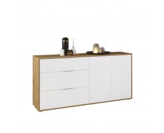 Dvojdverová komoda so zásuvkami Neston 1600-2D/3DR - biela / dub wotan