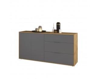 Dvojdverová komoda so zásuvkami Neston 1600-2D/3DR - sivý grafit / dub wotan