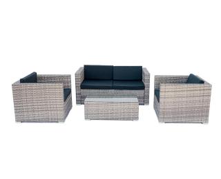 Záhradný nábytok z umelého ratanu Quattro - sivá / čierna