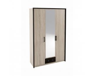 Trojdverová šatníková skriňa so zrkadlom Seina W-3D - dub sonoma / wenge magic