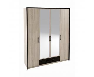 Štvordverová šatníková skriňa so zrkadlom Seina W-4D - dub sonoma / wenge magic