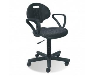 Dielenská stolička na kolieskach s podrúčkami Negro GTP - čierna