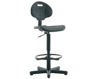 Výškovo nastaviteľná dielenská stolička Negro GTS/Ring Base - čierna