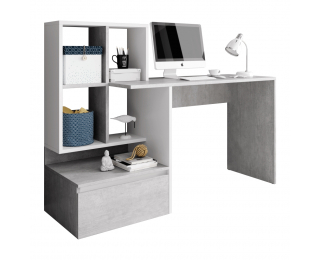 Písací stôl Nereo - betón / biely mat