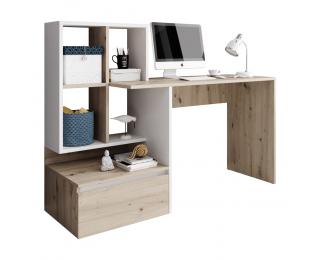 Písací stôl Nereo - dub artisan / biely mat