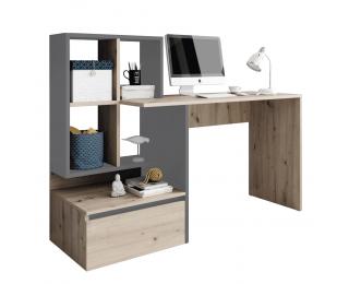 Písací stôl Nereo - dub artisan / grafit / antracit svetlý