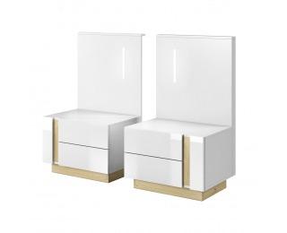 Nočný stolík s osvetlením (2 ks) City - biela / dub grandson / biely lesk